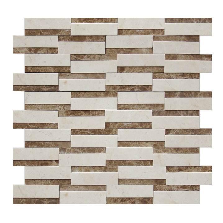 Mosaico-Tessela-Crema-Marfil-e-Marrom-Imperador-Polido