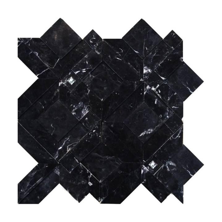Mosaico-Tessela-Mármore-Nero-Marquina-Polido