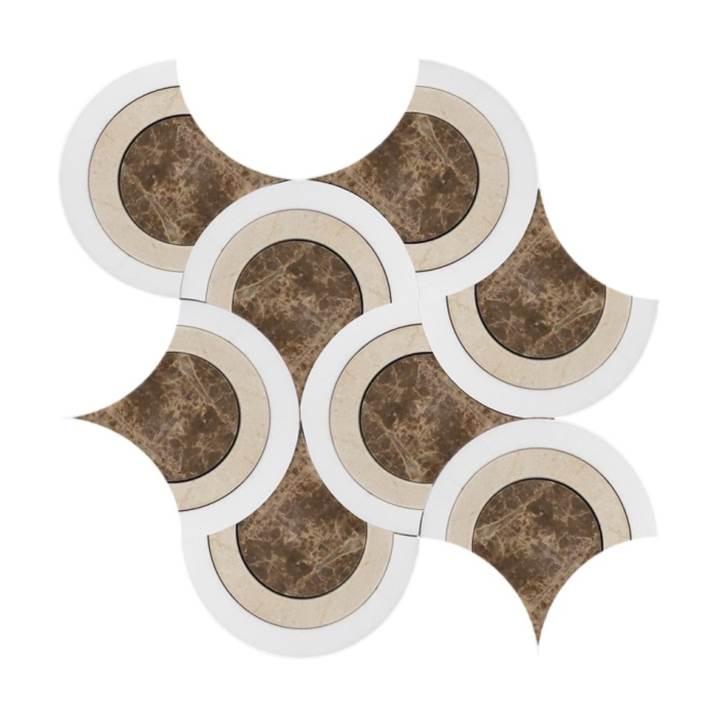 Mosaico-Tessela-Multiformas-Crema-Marrom-Light-e-Tassos-Polido
