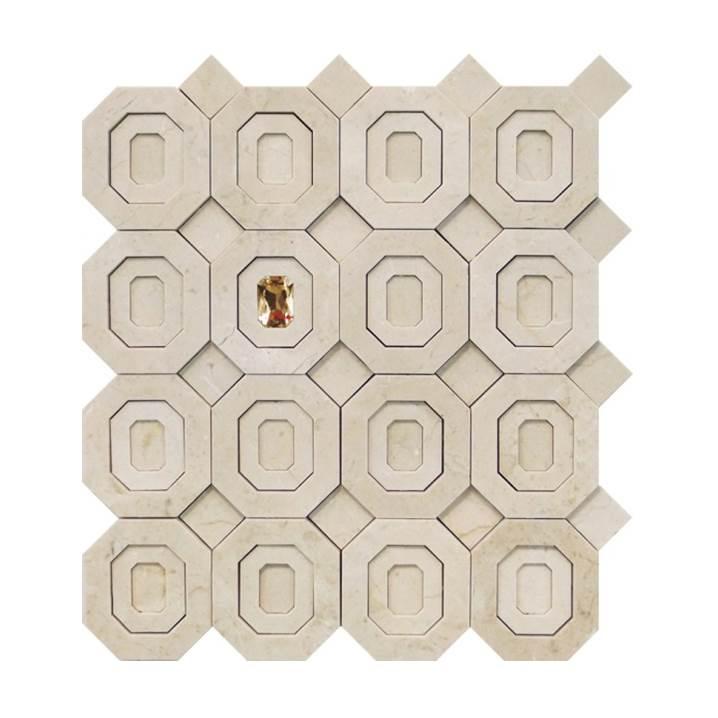 Mosaico-Tessela-Octógono-Crema-Marfil-Polido-com-cristal