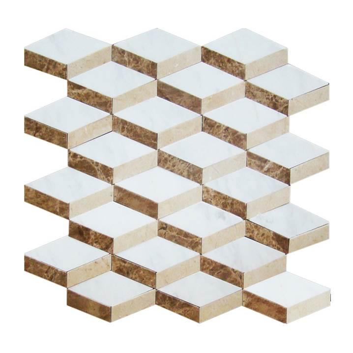 Mosaico-Tessela-Piguês-Crema-Marfil-e-Marrom-Light-polido
