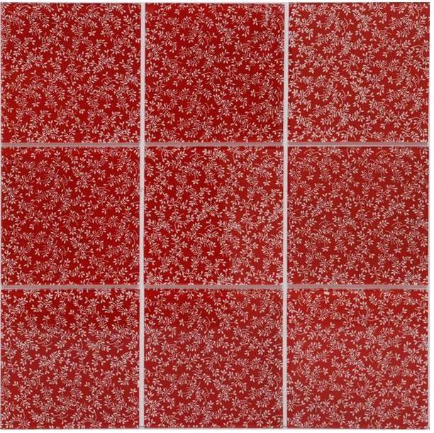 Pastilha de vidro papel de parede vermelho Glass Line